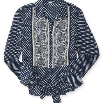 Long Sleeve Pieced Bandana Tie-Front Woven Shirt
