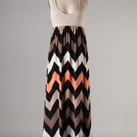 plus size maxi dress, plus size chevron maxi dress, plus size dress, taupe and coral dress, XL 2XL 3XL
