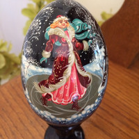 Holiday Christmas Egg Ice Skating Snow Girl traditional russian wood egg collectible holiday birthday gift painted made hand souvenir wood