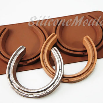 2 cell LIFESIZE Horse Shoes Wedding Good Luck Chocolate Silicone Mould Candy Lolly Cake Topper Silicon Mold - resin / craft / wax / soap
