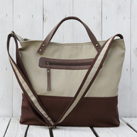 Tote messenger bag Canvas diaper bag brown beige two tone bag Leather hand strap MacBook Bag Handbag