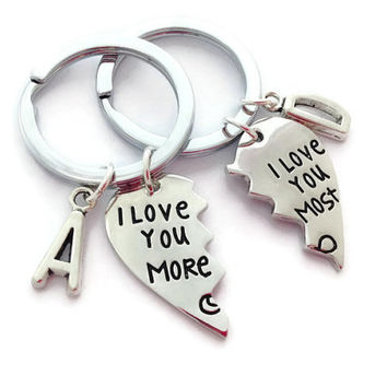 Personalized Couples Gift, I Love You More, I Love You Most, Set Of 2 Keychains, Wedding Gifts, Engagement Keyrings, Anniversary Present