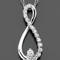 Diamond Necklace, 14k White Gold Diamond Infinity (1/10 ct. t.w.) - Necklaces - Jewelry & Watches - Macy's
