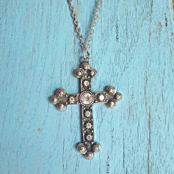 Rustic Jeweled Cross Necklace