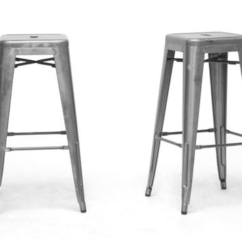 Baxton Studio French Industrial Modern Bar Stool Set of 2 (Gunmetal & Antique Copper)