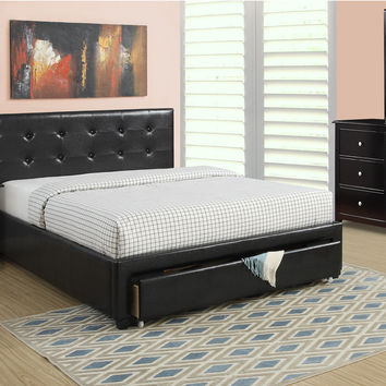 Poundex Black Queen Bed Only