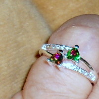 Heart Shaped Double Mystic Topaz & Pave CZ's Ring  7