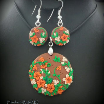 Floral earrings pendant polymer clay set-Summer jewelry-Handcrafted pendant-Handmade earrings-Flower jewelry-Fancy jewelry-Jewelry for women