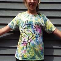 Unique Tie-Dye Turtle Shirt for Tweens, Youth L, Childrens TieDye TShirt for the Turtle Lover, Reptile Party, Tween Boy Gift, Tween Girl Tee