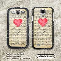 Love Heart On Music Sheet galaxy s3 s4 Case, samsung s3 s4 Hard & Rubber Case, Vingate Music Sheet cover skin case for Samsung s3 s4 case