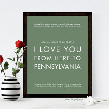 Pennsylvania Art, Pennsylvania Gift, Going Away Gift, Personalized Wedding Gift, Keepsake Poster Art Print - All States Available