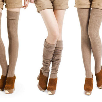 Warm Turnup Cable-Knit Long Cotton Stockings