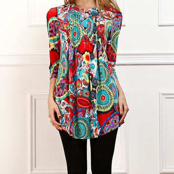 Reborn Collection Red & Aqua Burst Notch Neck Tunic - Women | zulily