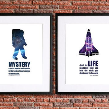 Astronauts Neil A. Armstrong  and Chris Hadfield Art | Set of Two 8x10 Instant Download Printable Posters | With quotes from both explorers
