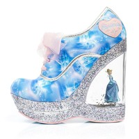 Irregular Choice Cinderella Collection: Call Me Cinders Blue Wedges