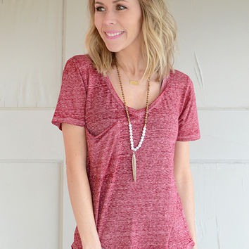 Z Supply Sno Yarn Pocket Tee - Sangria