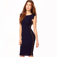 Women Side Zipper Business OL Wear to Work Fitted Bodycon Stretch Casual Wiggle Pencil Dress E563