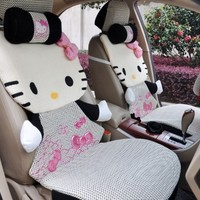 Hello Kitty Auto Car Front Rear Seat Plush Cover Cushion Set 12pcs 7-10 Working Days Arrived (Black)