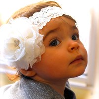 Ivory Headband, Lace Headband, Baby Headband, Cross Headband, Infant Headband, Baptism Headband, Flower Headband, Christening Headband