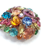 Multi Color Art Glass Domed Brooch Huge Colorful Rhinestone & Art Glass Mad Jewelry