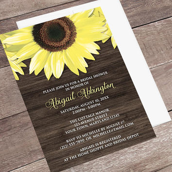 Sunflower Wood Bridal Shower Invitations - Rustic Country Yellow Floral Brown - Sunflower Shower Invites - Printed Sunflower Invitations