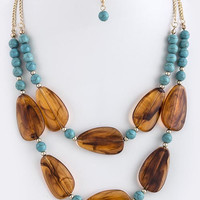 LAYERED ACRYLIC FLAT GEM LINK NECKLACE SET