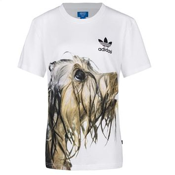 adidas female movement trend leisure dogs dogs pattern short sleeve t shirt