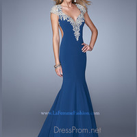 La Femme Embellished Cap Sleeve Prom Dress 21271