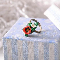 Ring Made of Polymer Clay Using Filigree Technique handmade adornment for women