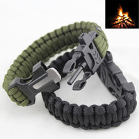4 in 1 Flint Fire Starter Whistle,Paracord Rescue Rope Escape Bracelet
