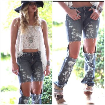 Lowrise ripped knee jeans, 90's style Cobain Jean, distressed Grunge black was and bleach celebrity style jean, Torn, True rebel clothing