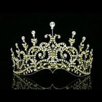 Gold Bridal Wedding Pageant Rhinestone Crystal Crown Tiara 6429