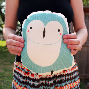 $20.00 Plush Owl Pillow in Blue MADE TO ORDER by Gingiber on Etsy