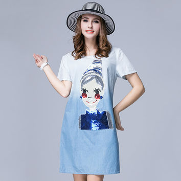 OCHANAL Women's Plus Size Sequined Cartoon Pattern Short Sleeved Summer Casual Denim Cotton Dress Blue xl,2xl,3xl,4xl,5xl