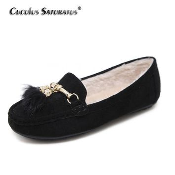 Cuculus Winter Women Loafers Shoes Warm Soft Women Flats Winter Fur Lined Slip-on Ladies Moccasins Boat Shoes Woman B912-2