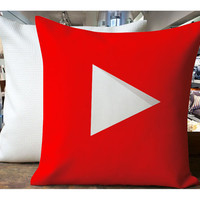 YouTube Play Icon - Housewares , Home Decor , Pillow Case One Side / Two Sides Design