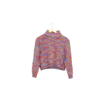 ST JOHN wool knit rainbow sweater / sport by marie gray / SOFT / boxy / cropped / 1990s 90s / unique / colorful / womens size small