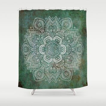 Silver White Floral Mandala on Green Textured Background Shower Curtain by Lena Photo Art
