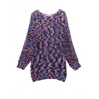 Round Neck Multi-color Retro Western Style Pullover  Other type  Vintage Pop  style S10200201 in Knitwear
