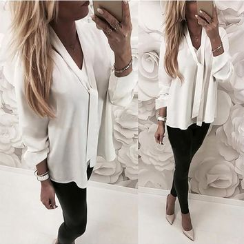 White Ribbons V-neck Long Sleeve Fashion Blouse
