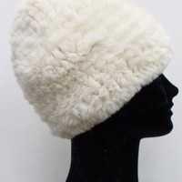 Faux Fur Plush Hat - Ivory