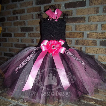 2 Piece Set of Pink n' Black Tutu Dress and Matching Headband with Zebra accents