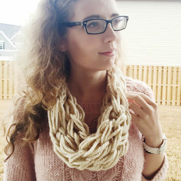 Cream Arm Knit Scarf, Chunky Infinity Scarf, Beige Infinity Scarf, Arm Knit Infinity Scarf, Winter Cowl, Neutral Scarf, Single Loop Infinity