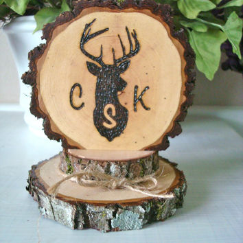 Rustic Wedding Cake Topper Deer Monogram Customized Wood Burned Country