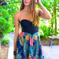 Tropical Print Strapless Dress with Black Cutout Top