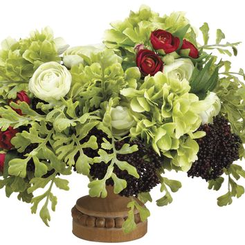 Lifelike Hydrangea & Ranunculus Floral Arrangement in Footed Decorative Container