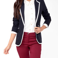 Contrast Single Button Blazer