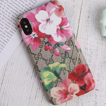 GUCCI tide brand couple iPhone7plus protective cover color printing flower hard shell F0945-1 red