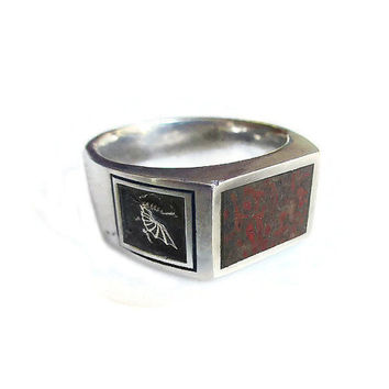 Sterling Bloodstone Ring, Sterling Silver, Dragon Griffin, Vintage Ring, Mens Ring, Vintage Jewelry, Size 10