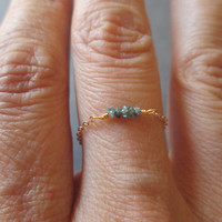 Blue Rough Diamond Chain Ring // Sterling Silver // Gold Filled // Rose Gold Filled